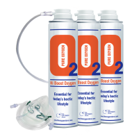 3 X O2 10 Litre Oxygen Cans Inc 1 x Mask and Tubing