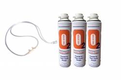 3 X O2 10 Litre Oxygen Cans Inc 1 x 1.8M Tubing & Nasal Cannula