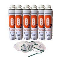 6 X O2 10 Litre Oxygen Can Inc 2 x 1.8M Tubing & Nasal Cannula